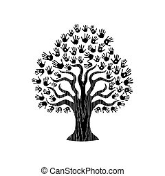 Hand print tree illustration for community help