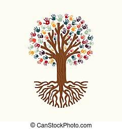 Hand print tree illustration for community help
