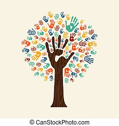 Hand print tree of diverse community team