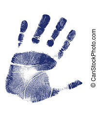 Hand print / Vector - Blue hand-print shape over white...