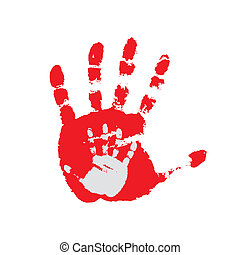 Hand print on a white background. Vector