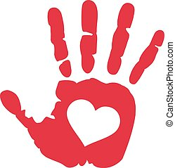 Hand print with heart in the middle