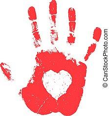 Hand print with heart shape