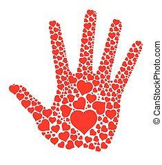 Hand print with hearts
