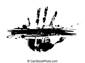 hand print with ink splatter
