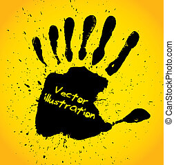 Hand print with seven fingers