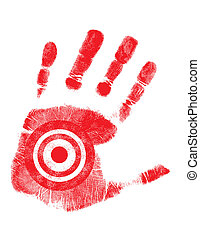 hand print with target symbol