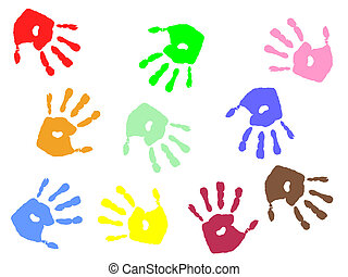 hand prints - vector illustration of colorful hand prints