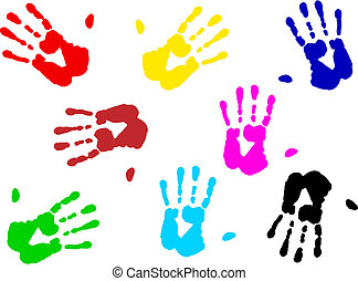 hand prints - illustration of multicolored hand print over...