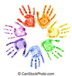 Hand prints in a circle