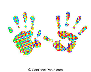 hand-prints, twee, kleurrijke