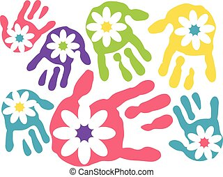 hand prints with flower