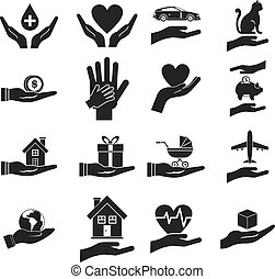 Hand protect icon set, simple style - Hand protect icon set....