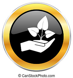 Hand protect plant growth black web icon with golden border isolated on white background. Round glossy button.