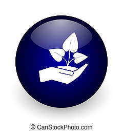 Hand protect plant growth blue glossy ball web icon on white background. Round 3d render button.
