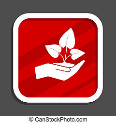 Hand protect plant growth icon. Flat design square internet banner.