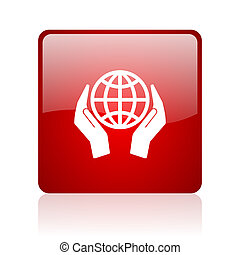 Hand protect the earth blue bubble icon - Hand protect the...