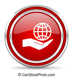 Hand protect the earth red silver metallic chrome border web and mobile phone icon on white background with shadow