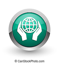 Hand protect the earth silver metallic chrome web design green round internet icon with shadow on white background.