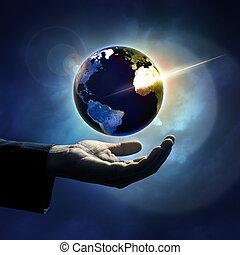 Hand protecting earth