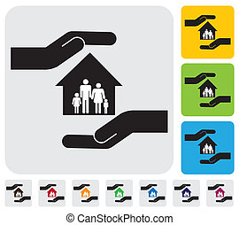 Hand protecting family & house(home)- simple vector graphic. This illustration represents concept of home insurance, family members safety, safeguarding mortgage, property & asset protection