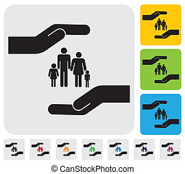 Hand protecting family(parents and children)- simple vector graphic. This illustration represents concept of safety of father, mother, son & daughter, family health insurance, personal insurance, etc