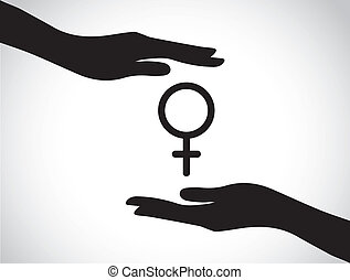 hand protecting female symbol