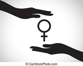 hand protecting female symbol