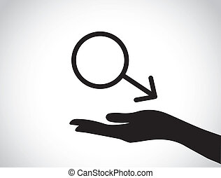 hand protecting male symbol