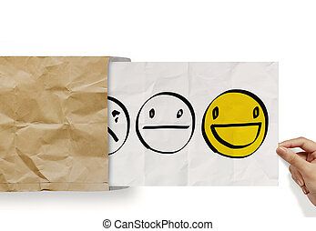 hand pull crumpled paper with customer service evaluation icon as concept