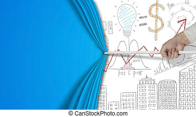 hand pulling blank blue curtain covered business concept chart d