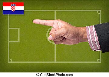 hand, punkt, a, fußballspiel, strategie, auf, a, tafel