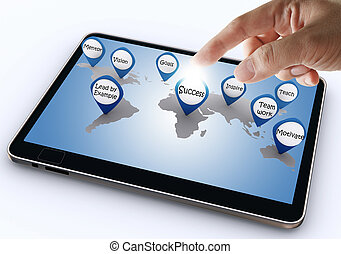 hand, punkt, geschaeftswelt, erfolg, ikone, mit, tablette, edv