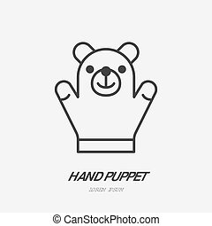 Hand puppet line icon, baby soft bear toy flat logo. Cute plush animal vector illustration. Sign for kids shop