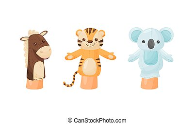 Hand Puppet Toy Made from Fabric Wore by Hand Vector Set. Animal Character for Making Kids Performance Concept