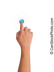 Hand pushing a blue button
