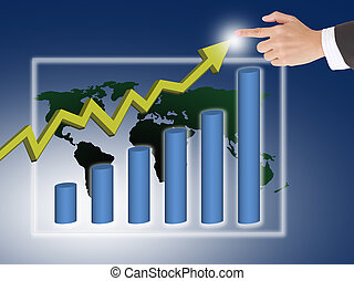 hand pushing a business graph