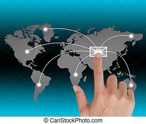 hand pushing a button e-mail touch screen interface in wide...