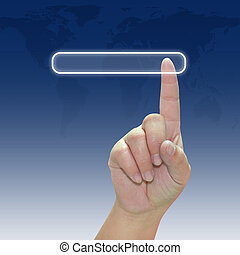 Hand pushing a button on touch screen interface