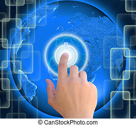 hand pushing button power on abstract the world technology