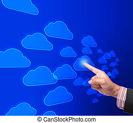 Hand pushing cloud button on a touch screen interface
