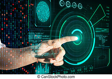Hand pushing digital business and security interface