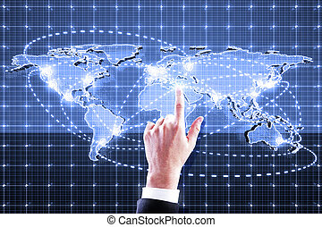 hand pushing digital world map interface