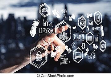 Hand pushing drawing stock crash chart on screen.