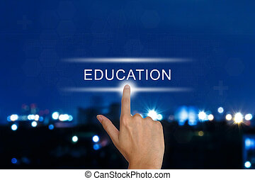 hand pushing education button on touch screen