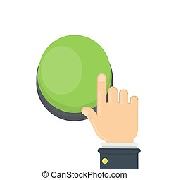 Hand pushing green button