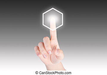 Hand pushing hexagon button with technology background