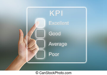 hand pushing KPI or key performance indicator on virtual...