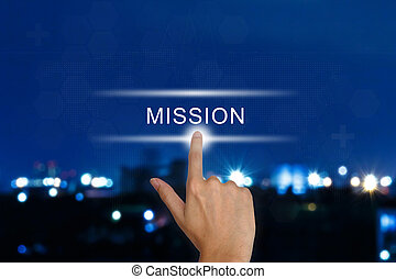 hand pushing mission button on touch screen