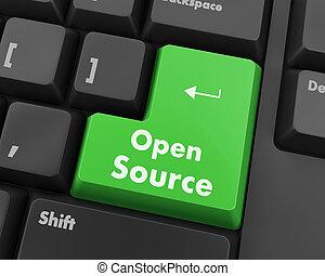 open source keyboard button - Hand pushing open source ...